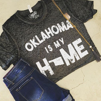 "Black washed ""Oklahoma is my Home"" t-shirt"