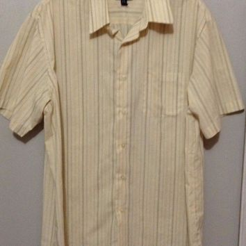 Van Heusen Yellow button-up Striped Polo Collared Shirt casual Golf L 16 -16.5