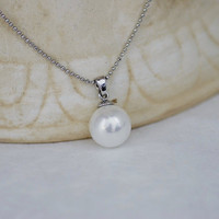 Solitaire Pearl Pendant and Necklace Set in White 18K Gold Plating, Wedding Pearl Pendant, Bridesmaid Pendant, Single Pearl Necklace