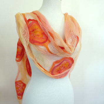 Womens Coral Cotton Stole. Large Scarves. Orange Coral