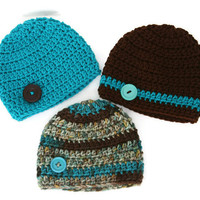 Baby boy hats teal blue brown camo set of three crochet newborn 0-3 month photo prop. Ready To Ship