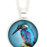 Blue Kingfisher Bird Necklace Silver Tone NX24 Bird Illustration Art Pendant Fashion Jewelry