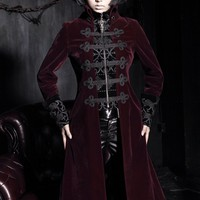 Gothic Women's Stand Collar Chinese Knot Velveteen Maxicoat - Punk Design