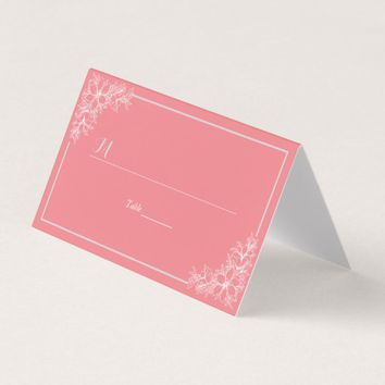 Pink White Floral Table Number Seating Name Place Place Card