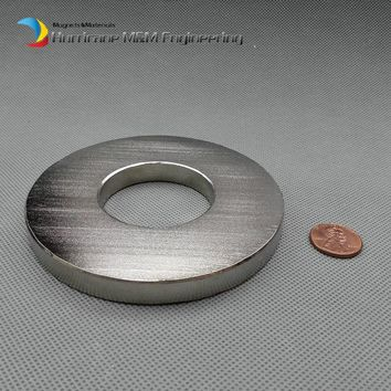 "2 pcs N52 Magnet Large Ring OD 100xID 45x10 mm thick about 4"" round NdFeB Strong Neodymium Rare Earth Permanent Magnet"