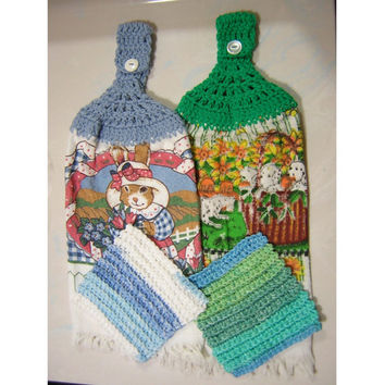 Set of 2 Crocheted Kitchen Towels with 2 Crocheted Dish Cloths - Crochet Towel Toppers