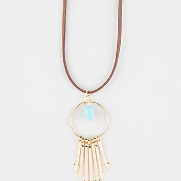 Full Tilt Stone/Arrows Suede Cord Necklace Gold One Size For Women 27294762101