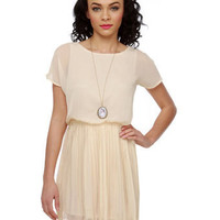 Cute Cream Dress - Chiffon Dress - $38.00