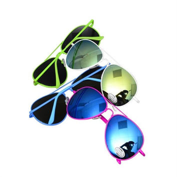 *COLORED FRAMES REFLECTIVE LENS AVIATOR SUNGLASSES