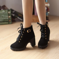 High heel boots winter women ankle women boots fashion warm