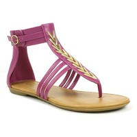 Mark and Maddux Channing-05 Chevron Metallic Gladiator Flat Sandals in Magenta @ ippolitan.com