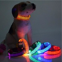 LED Dog Collar Light Flash Leopard Puppy Night Safety Collars For Dogs
