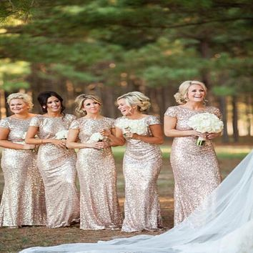 Champagne gold Long Bridesmaid Dresses Sequined Short Sleeve Floor Length Bridesmaid Dress 2015 Prom Gown Wedding Party Dress