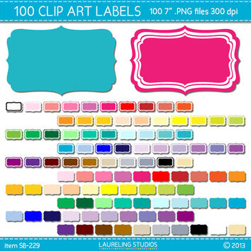 100 digital clip art scrapbook labels in 50 colors, label clipart, digital frame clipart scrapbook supplies DIGITAL DOWNLOAD SB-229
