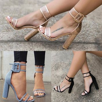 Super High Shoes Women Pumps Sexy Clear Transparent Strappy Buckle Summer Sandals High
