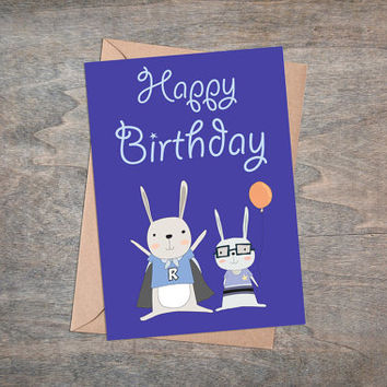 "Cute Rabbit Boys - Printable Birthday Greeting Card, 5x7"", Happy Birthday, Foldable Card, Baby Boy, Kawaii, Blue, Bunny, Balloon"