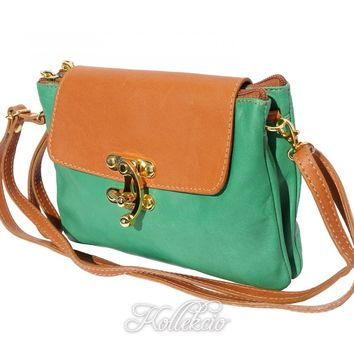 Italian Green Genuine Leather Clutch with Golden Closure