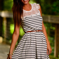 Pleats And Lace Dress, Black/White