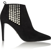 Sergio Rossi - Faux pearl-embellished suede ankle boots