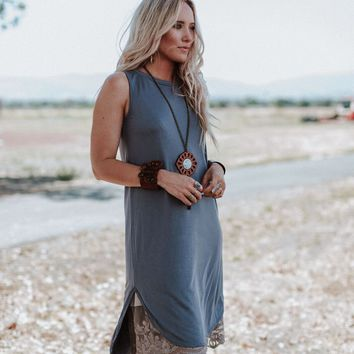 At Last Best Basic Hi Low Dress - Charcoal