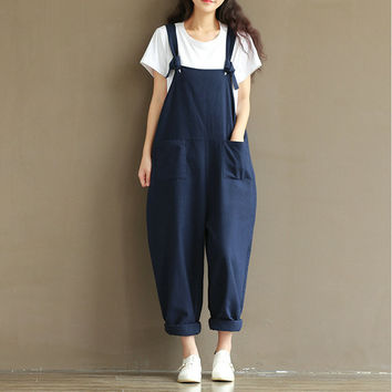 Autumn Womens Cotton Linen Overalls Navy Blue Solid Jumpsuits Street Casual Pocket Sleeveless Pant Spring