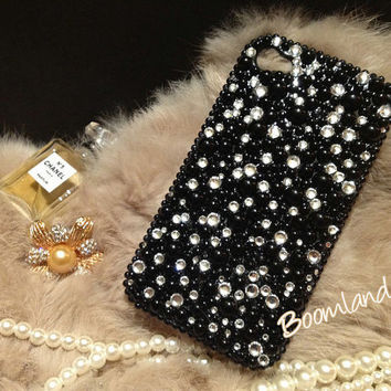 iphone 5 case, iphone 4 cover, iphone 4s case, Bling iphone 5 case, rhinestone bling iphone 4s case skin, black pearl phone case