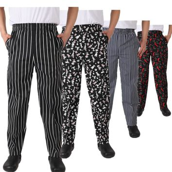 new chef service cook uniform chef de executive chef pant black white striped elastic Red Peppers restaurant uniform