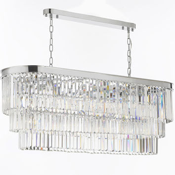 Retro Odeon Glass Fringe Rectangular Chandelier Lighting Chrome Finish - G7-2164/12