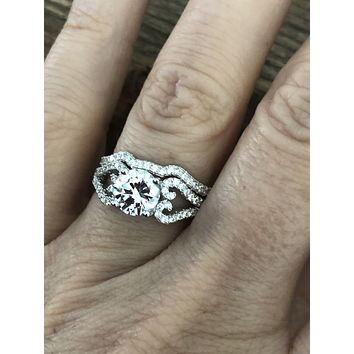 1.3CT Round Cut Russian Lab Diamond Bridal Set Heart Ring