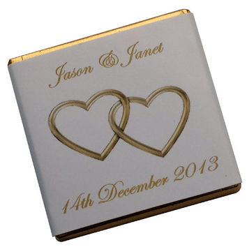 50 Personalised Chocolate Wedding Favours - Entwined Hearts