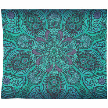 Purple Green Mandala Tapestry Wall Hanging Meditation Yoga Grunge Hippie