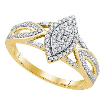 10kt Yellow Gold Women's Round Diamond Marquise-shape Cluster Bridal Wedding Engagement Ring 1/4 Cttw - FREE Shipping (US/CAN)