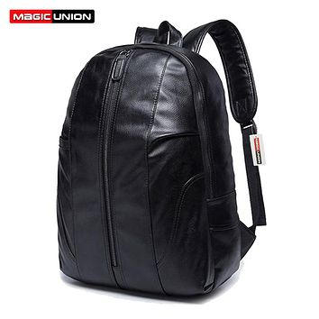 Wax Leather Backpack Men's Backpack & Travel Bags Western College Style Fashion Shoulder Backpacks Zip