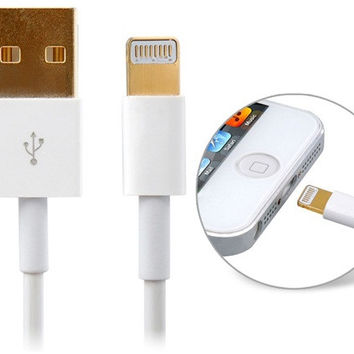Gold-plated USB Data Charging Cable for iPhone 5, iPad mini, iPod touch 5, iPod Nano 7, iPad 4 1.0 m (White)