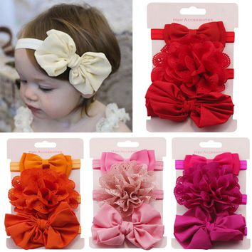 3Pcs Floral Bowknot Solid Colors Cute Baby Girl Child Infant Toddler Head Wraps Bandana Headband