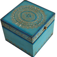 Women's Day Gift for Her - SouvNear Jewelry Box/Decorative/Keepsake/Trinket Handmade Wood Carved Blue Box