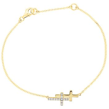 Diamond Double Sideways Cross Necklace in 14k Yellow Gold, 18 Inch