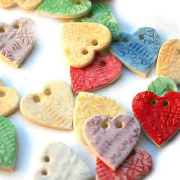 Heart Button - Craft Projects - Embroidery - Scrapbooking- DIY - Multicolour - Handmade Ceramic Buttons - Wedding Crafts