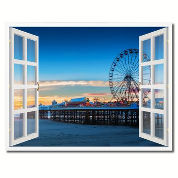 Sunset View Ferris Wheel Picture French Window Framed Canvas Print Home Decor Wall Art Collection
