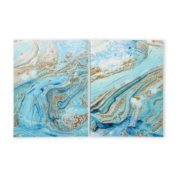 Set of 2 Mermaid Marble Blue Wall Art Panels