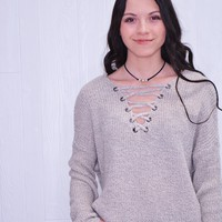 Serenity- Lace Up Sweater