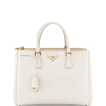 Prada Saffiano Double-Zip Executive Tote Bag, White (Bianco)