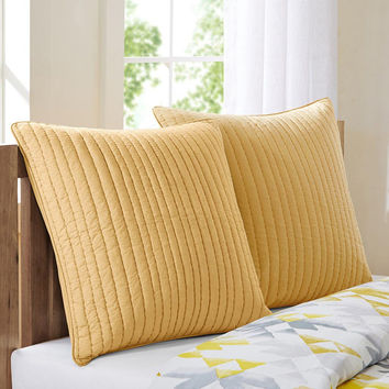 INK+IVY Camila  Cotton Quilted Euro Sham w/ Embroidery, Yellow
