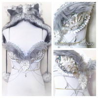 Silver/White Tribal Wolf Rave Outfit( includes: Hoodie, silver tribal wolf rave bra)