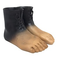 Magritte Boot Feet with Shoelaces Red Model Surrealism Small Figurine Statue 3L