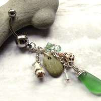 Beach Belly Button Ring, Sea Glass Shell and Beach Stone Belly Button Jewelry
