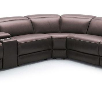 Divani Casa Gentry Modern Grey Eco-Leather Sectional Sofa w/ Recliners
