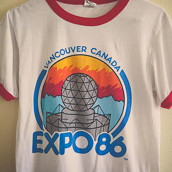 Expo '86  Tshirt Vancouver Canada Ringer Tee White with Red Ringer Size Medium