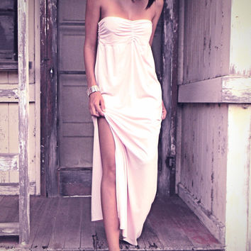 The Alohi Bandeau Maxi Dress in Bamboo Organic Cotton Jersey by Indigo Sage... Eco Chic Clothing from Hawaii.