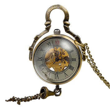 1pcs/ 35mm ,Roman Steampunk mechanical glass ball shell pocket watch Necklace,Necklace Pendant,craft supply BM-66